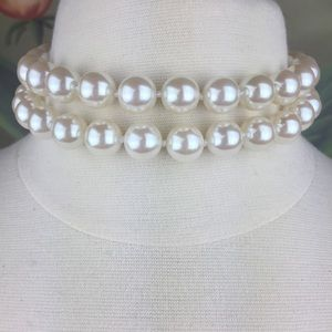 Carolee Faux Pearl Double Strand Choker Necklace